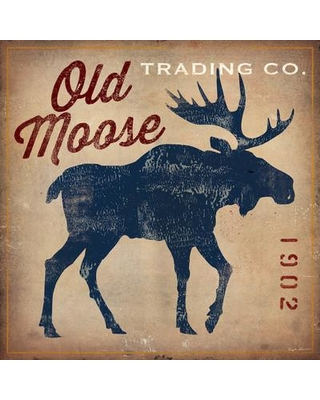 """Loon Peak Old Moose Trading Co.Tan Vintage Advertisement on Wrapped Canvas LOON6803 Size: 12"""" H x 12"""" W x 0.75"""" D"""