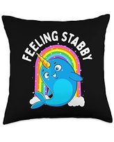 Unicorn Squad Goals Gift Store Feeling Stabby Narwhal Kawaii Whale Gift Teen Girls Women Throw Pillow, 18x18, Multicolor