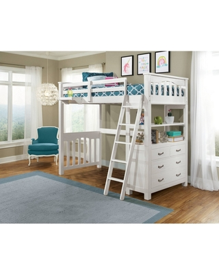 Twin Highlands Loft Bed with Hanging Nightstand White - Hillsdale Furniture