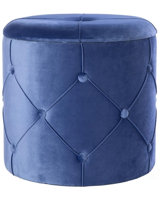 Bold Tones 15.5 in. H Blue Round Wooden Velvet Ottoman Stool with Lid