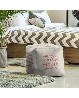 East Urban Home Cube Insert (18 x 18 x 18) Faux Gemstone Choose Hope Quote Ottoman EBJX2577 Upholstery Color: White/Red