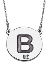 """Diamond Accent Sterling Silver Initial Disc Pendant Necklace, 20"""""""