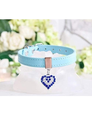 NEW! Luxury Blue Crystal Heart Dog Collar by Enchanted-Pets. Robbin's Egg Blue. For Dogs, Cats, Puppies, Pets. Sizes XXS, XS, S, M.