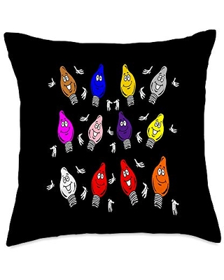 Merry Christmas December Holiday Funny Design Tee Tree Lights Cute Multi Color Bulbs Merry Christmas Throw Pillow, 18x18, Multicolor