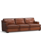 Townsend Square Arm Leather Grand Sofa, Polyester Wrapped Cushions, Leather Burnished Saddle