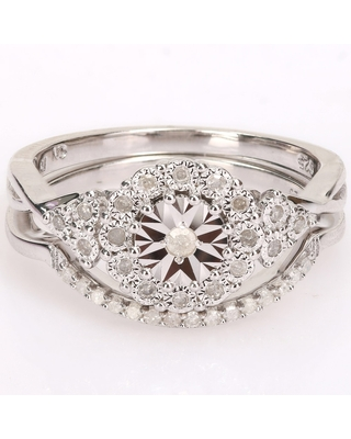 Miadora Sterling Silver 1/5ct TDW Diamond Floral Halo Wedding Ring Set (6)