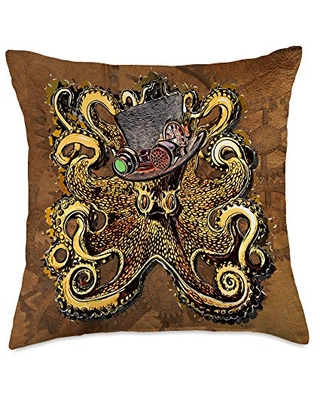 Steampunk Couture Gifts by PLOLDS Victorian Top Hat Goggles Wearing Octopus Steampunk Throw Pillow, 18x18, Multicolor