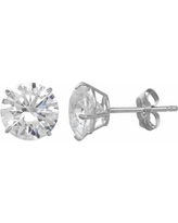Emotions Cubic Zirconia 10k Gold Solitaire Earrings - Made with Swarovski Cubic Zirconia, Women's, White