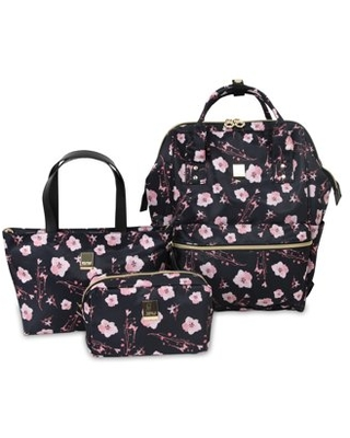 J World Posy Backpack With Travel Tote And Pouch, Pink Bloom