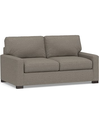 Turner Square Arm Upholstered Deluxe Sleeper Sofa with Bronze Nailheads, Polyester Wrapped Cushions, Performance Chateau Basketweave Light Gray