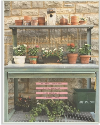 """The Stupell Home Decor Collection 12.5 in. x 18.5 in. """"Pink and Green Plant Dreams Garden Typography Photograph"""" by Tammy Apple Wood Wall Art, Multi-Colored"""