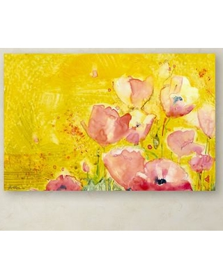 "Trademark Art ""Pink Poppy Field"" by Sheila Golden Painting Print on Wrapped Canvas SG5675-C Size: 30"" H x 47"" W x 2"" D"