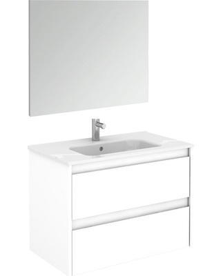 WS Bath Collections 31.6 in. W x 18.1 in. D x 22.3 in. H Complete Bathroom Vanity Unit in Gloss White with Mirror