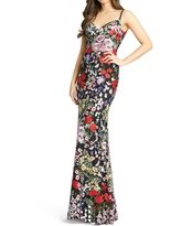 Mac Duggal Floral Embroidered Gown, Size 2 in Black Multi at Nordstrom