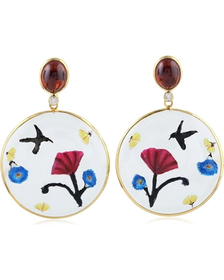 Artisan - 18K Gold Earring With Garnet & Hand Painted Quartz