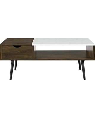 Walker Edison Furniture Company Dark Walnut Wood and Faux Marble Coffee Table, Marble and Dark Walnut