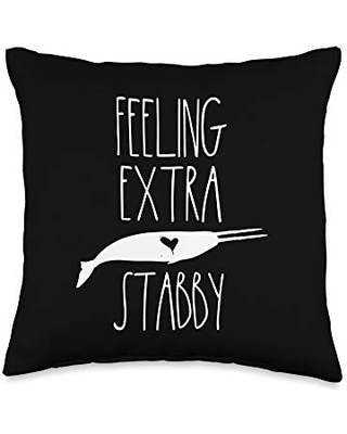 Narwhal Gifts Co Feeling Stabby Gifts for Girls Two Tusked Narwhal Throw Pillow, 16x16, Multicolor