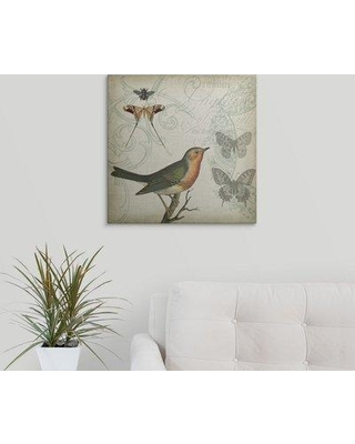 """Great Big Canvas 'Cartouche and Wings I' Jennifer Goldberger Graphic Art Print 1982625_1_ Size: 20"""" H x 20"""" W x 1.5"""" D Format: Canvas"""