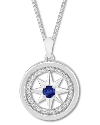 Wanderer Compass Necklace Lab-Created Sapphires Sterling Silver