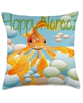 taiche Happy Norooz Goldfish In Pastel Bubbles Throw Pillow, 18x18, Multicolor