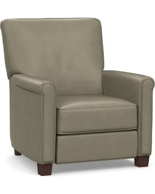 Irving Roll Arm Leather Power Recliner without Nailheads, Polyester Wrapped Cushions, Legacy Taupe