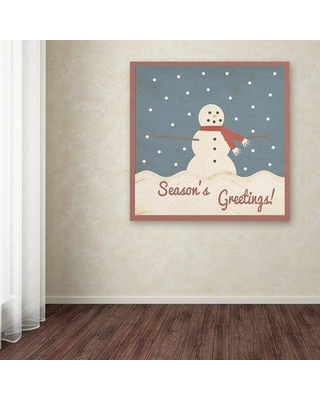 """August Grove 'Season's Greetings' Graphic Art Print on Wrapped Canvas AGGR8641 Size: 18"""" H x 18"""" W"""