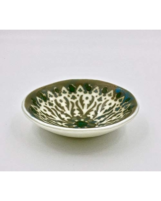 Ivory and Green Fused Glass Decorative Catchall Bowl with Black Iron Stand