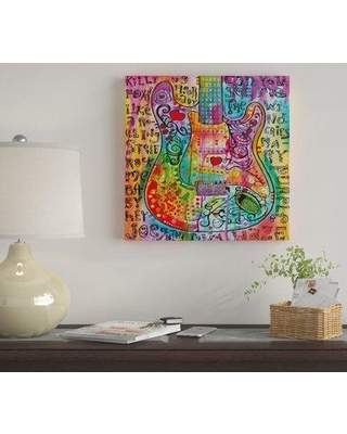 """East Urban Home 'Jimi's Guitar' by Dean Russo Graphic Art Print on Wrapped Canvas EUME4364 Size: 18"""" x 18"""" x 1.5"""""""
