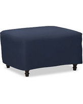 Carlisle Slipcovered Ottoman, Polyester Wrapped Cushions, Twill Cadet Navy