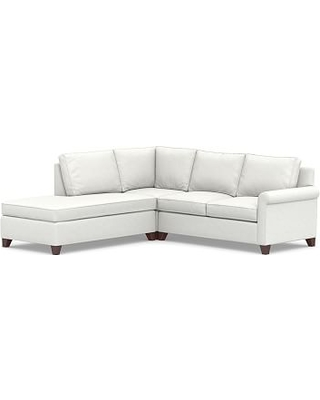 Cameron Roll Arm Upholstered Right 3-Piece Bumper Sectional, Polyester Wrapped Cushions, Performance Slub Cotton White