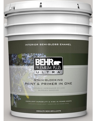 BEHR ULTRA 5 gal. #PPU26-09 Graycloth Semi-Gloss Enamel Interior Paint and Primer in One