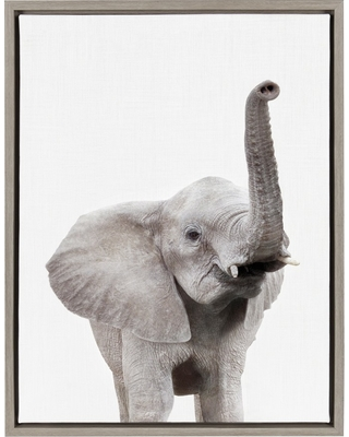 """Kate & Laurel 24""""x18"""" Sylvie Elephant with Raised Trunk Animal Print Portrait By Amy Peterson Framed Wall Canvas Gray"""