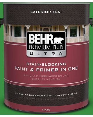 BEHR Premium Plus Ultra 1 gal. #440B-7 Par Four Green Flat Exterior Paint and Primer in One