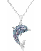 """Hue Sterling Silver Crystal Dolphin Pendant Necklace, Women's, Size: 18"""", Blue"""