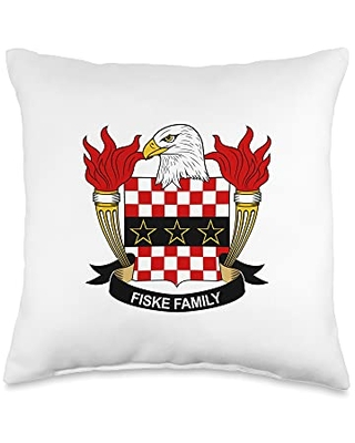 Family Crest and Coat of Arms clothes and gifts Fiske Coat of Arms - Family Crest Throw Pillow, 16x16, Multicolor