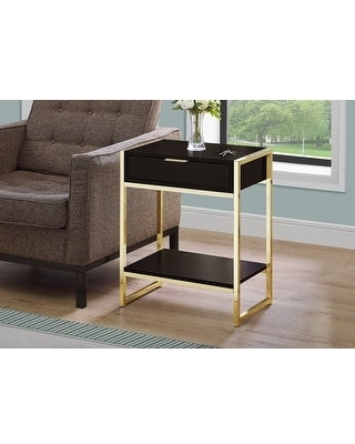 Monarch 3486 Cappuccino 24nch Accent Table With Gold Metal (Wood - Brown)
