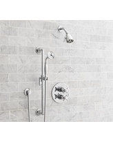 Warby Thermostatic Cross-Handle Hand-Held Shower Faucet Set, Chrome Finish