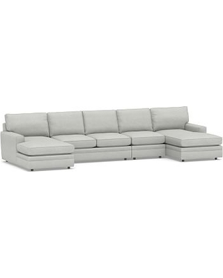 Pearce Square Arm Upholstered 4-Piece Chaise Sectional, Down Blend Wrapped Cushions, Basketweave Slub Ash