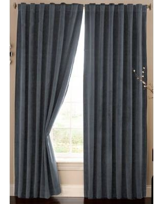 Absolute Zero Stone Blue Velvet Blackout Home Theater Curtain Panel 50-in. x 84-in.