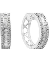 Effy White Gold 1/2 ct. t.w. Baguette and Round Diamond Hoop Earrings in 14k White Gold