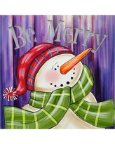 """Northlight 11.75 in. x 11.75 in. LED Lighted """"Be Merry"""" Smiling Snowman Christmas Canvas Wall Art, White"""