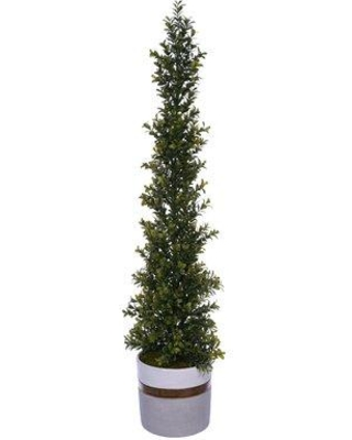 """George Oliver Artificial Desktop Boxwood Topiary in Pot BF024410 Size: 34"""" H x 7"""" W x 7"""" D"""