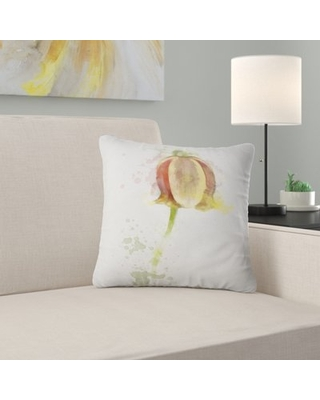 """Floral Tulip Sketch Watercolor Pillow East Urban Home Size: 18"""" x 18"""", Product Type: Throw Pillow"""