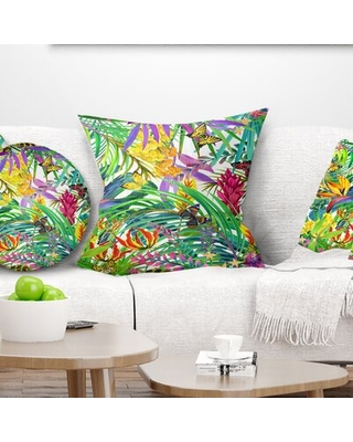 Floral Tropical Leaves and Flowers Pillow