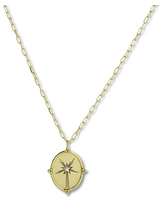 """Jared The Galleria Of Jewelry Oval Star Medallion Necklace 14K Yellow Gold 22"""""""