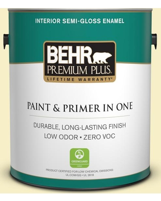 BEHR Premium Plus 1 gal. #400A-1 Candlelight Yellow Semi-Gloss Enamel Low Odor Interior Paint and Primer in One