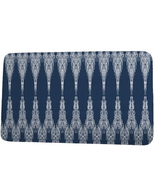 24 x 36 Inch Goals, Gourds, and Gatherings Peace 1 Navy Blue Geometric Print Bath Mat
