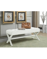 Blue Iconic Home Dalit Updated Neo Traditional Polished Nailhead Tufted Linen X Bench