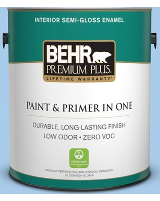 BEHR PREMIUM PLUS 1 gal. #P520-2 French Porcelain Semi-Gloss Enamel Low Odor Interior Paint and Primer in One