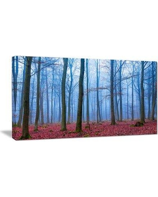 "East Urban Home 'Foggy Forest' Photograph ERNH9134 Size: 28"" H x 60"" W x 1.5"" D Format: Wrapped Canvas"
